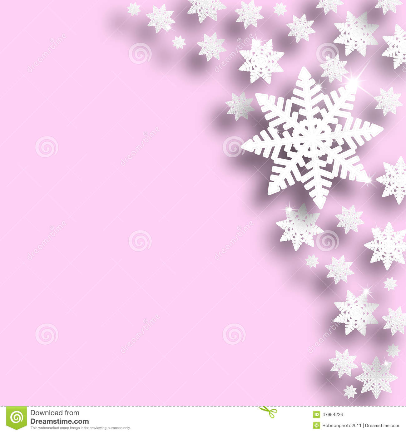 pink color christmas snowflake background stock