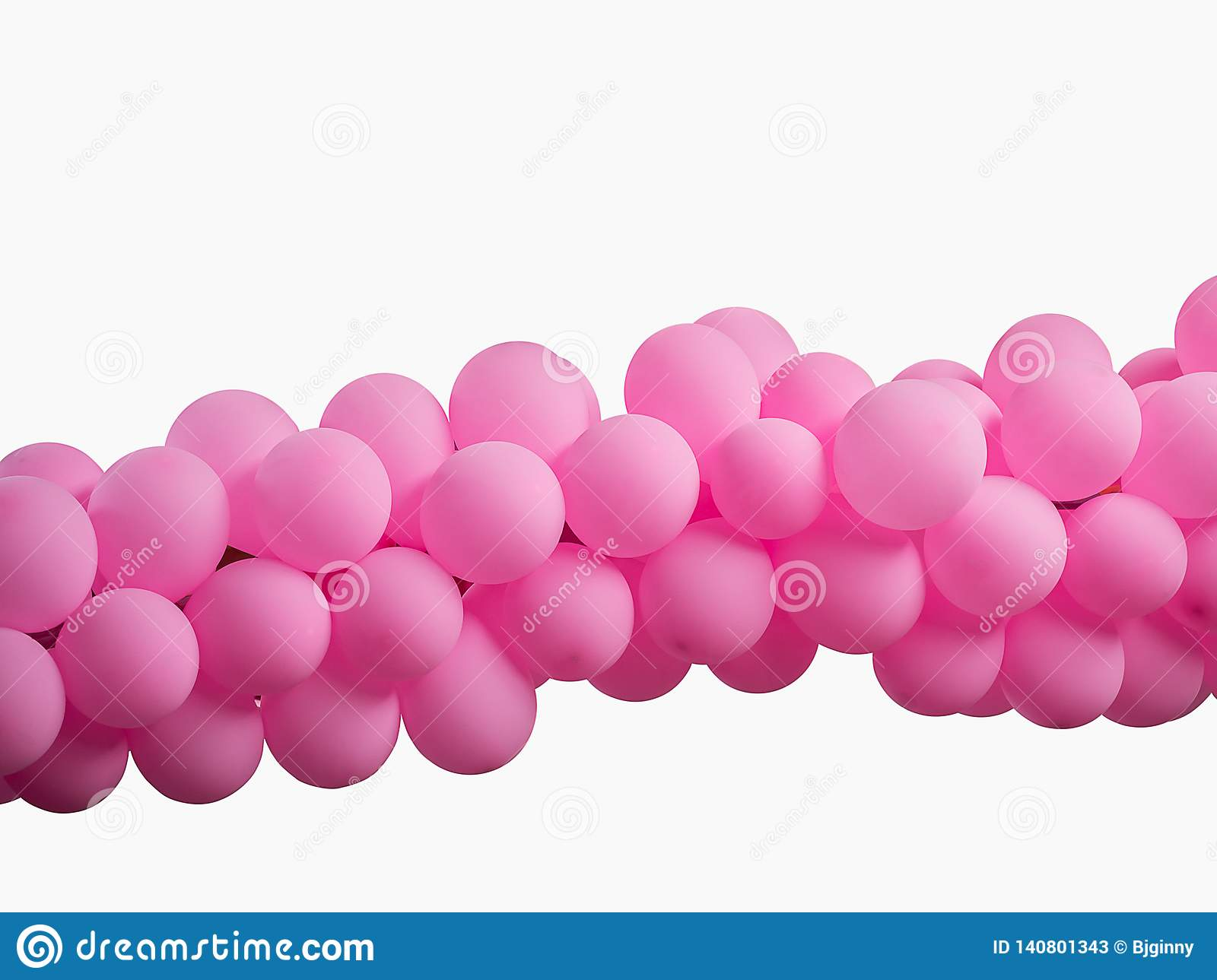 Pink color decorated balloons in a row over white background