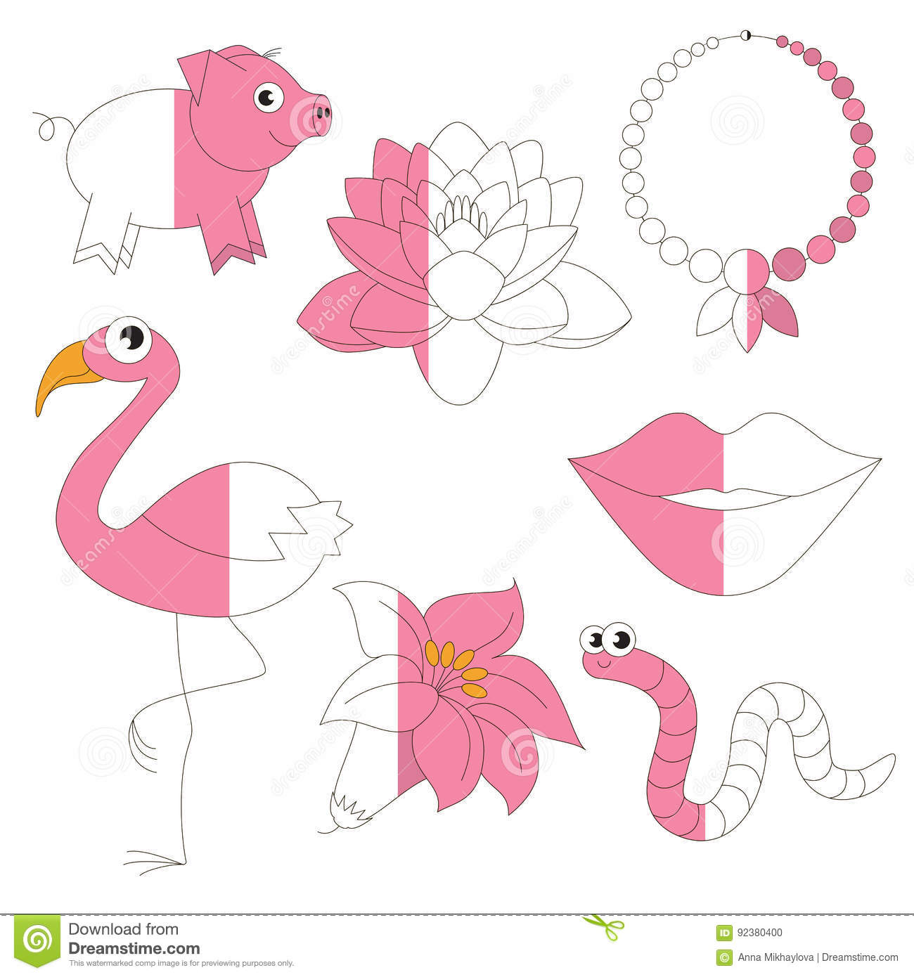 Fuchsia Coloring Page For Kids: Pink Color Objects, The Big Kid Game To Be Colored By