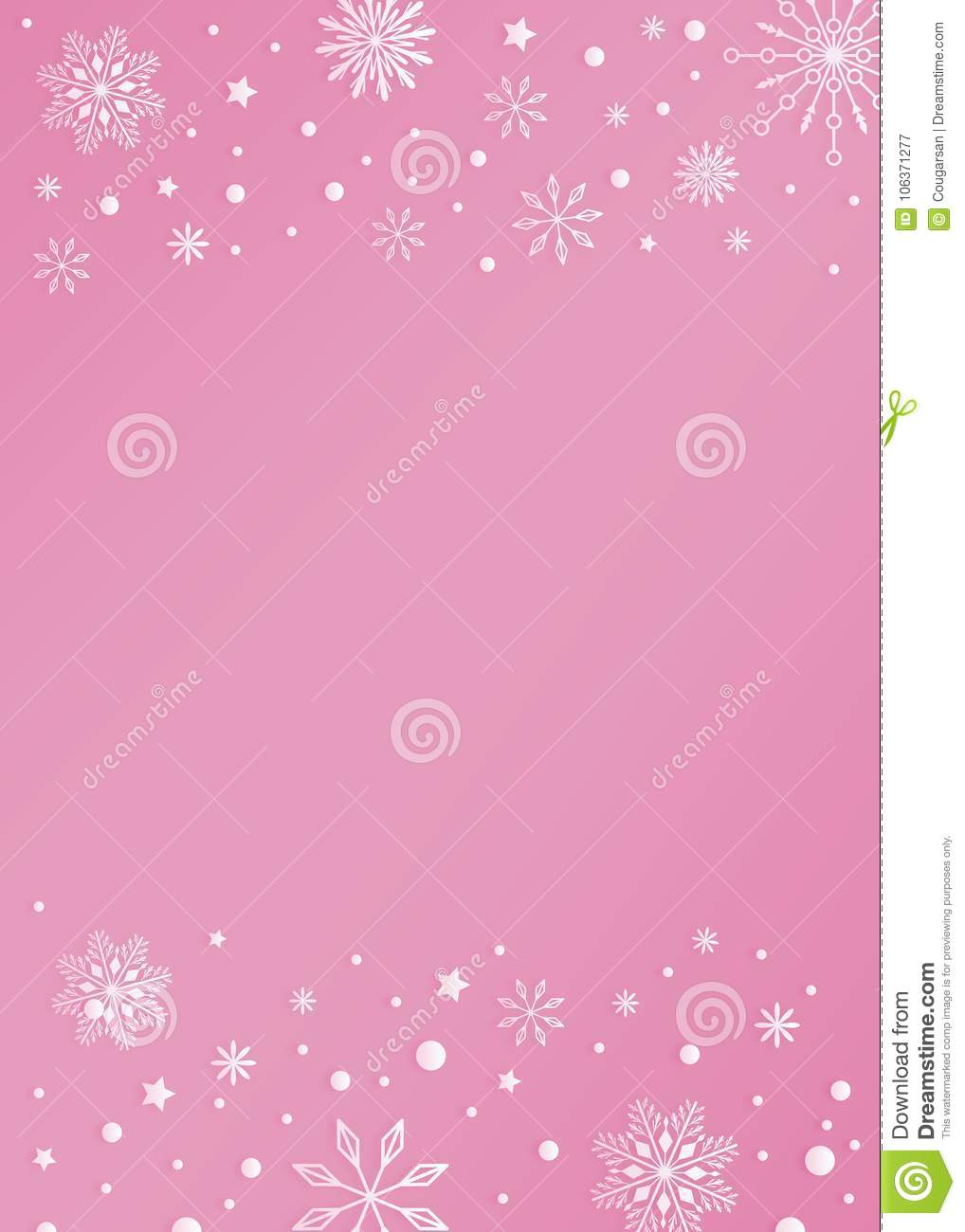 pink color template background with snowflake and snow border stock