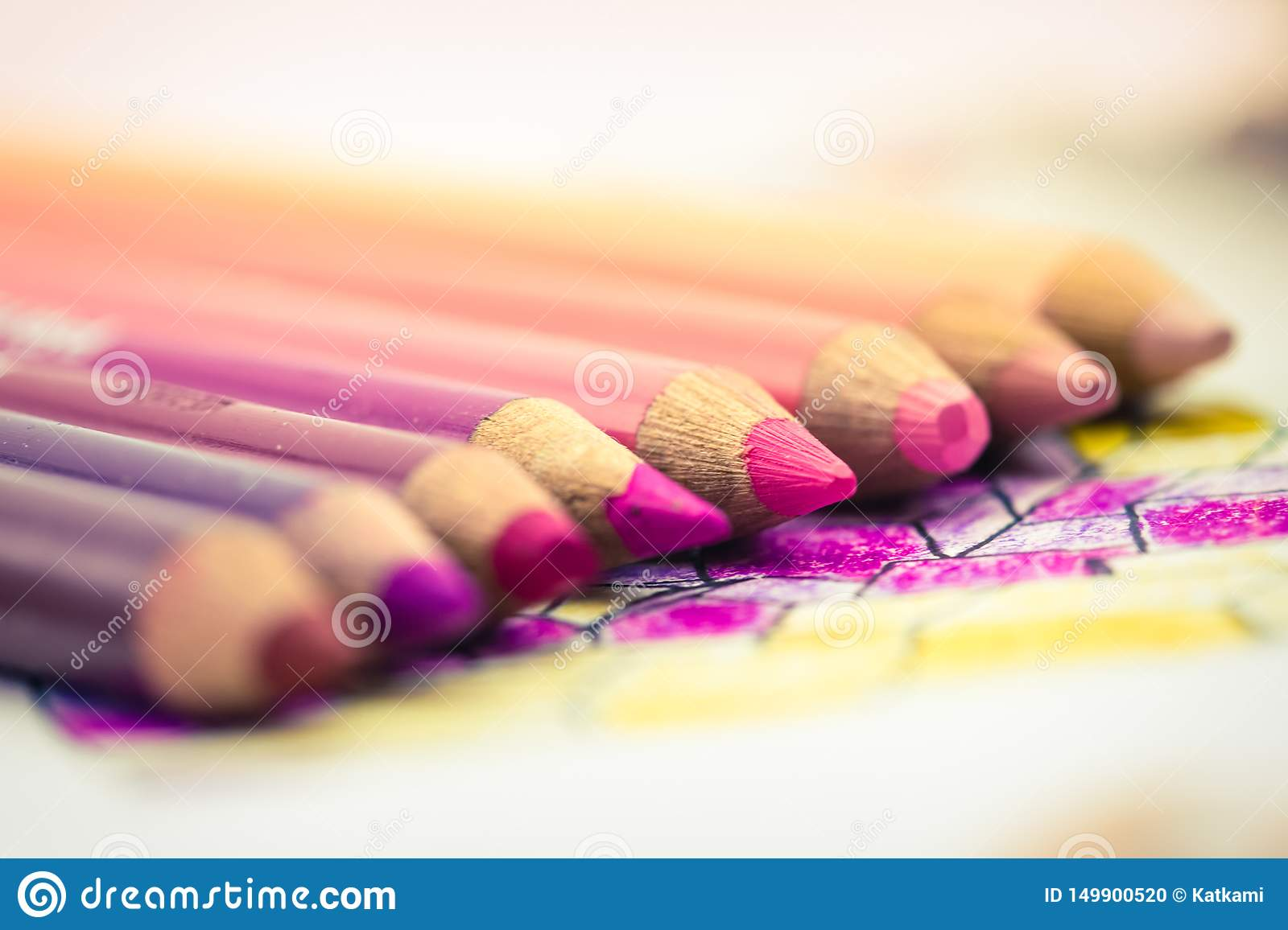 Pink Colored Pencils Lined up in a Gradient