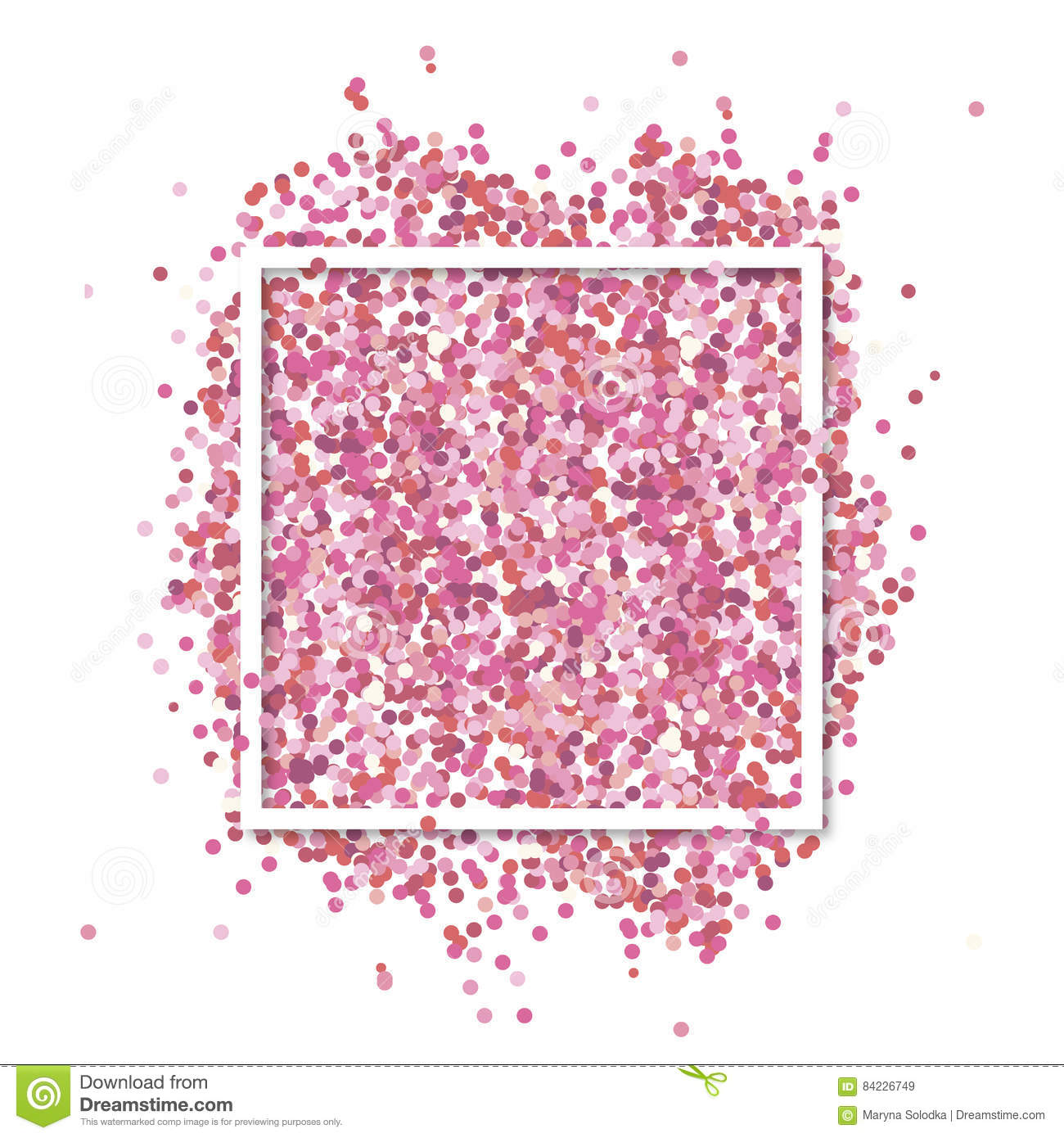 Pink confetti in in white square frame. Romantic Valentines background with text place.