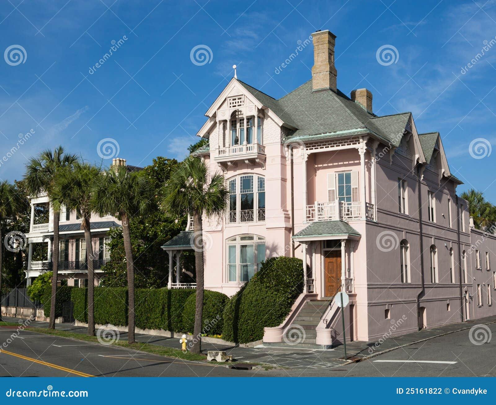 Pink Corner Mansion Battery Park Charleston Sc Stock Photography Image 25161822
