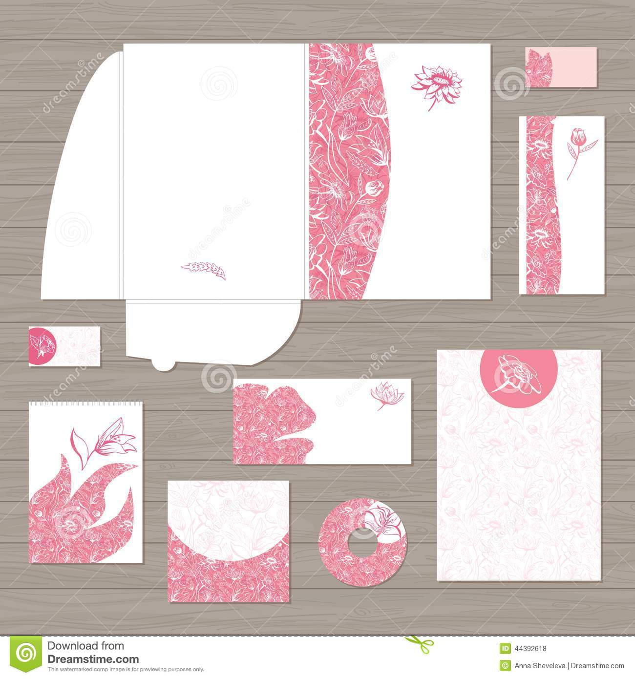 Pink Corporate Identity Template Vector Stock Vector