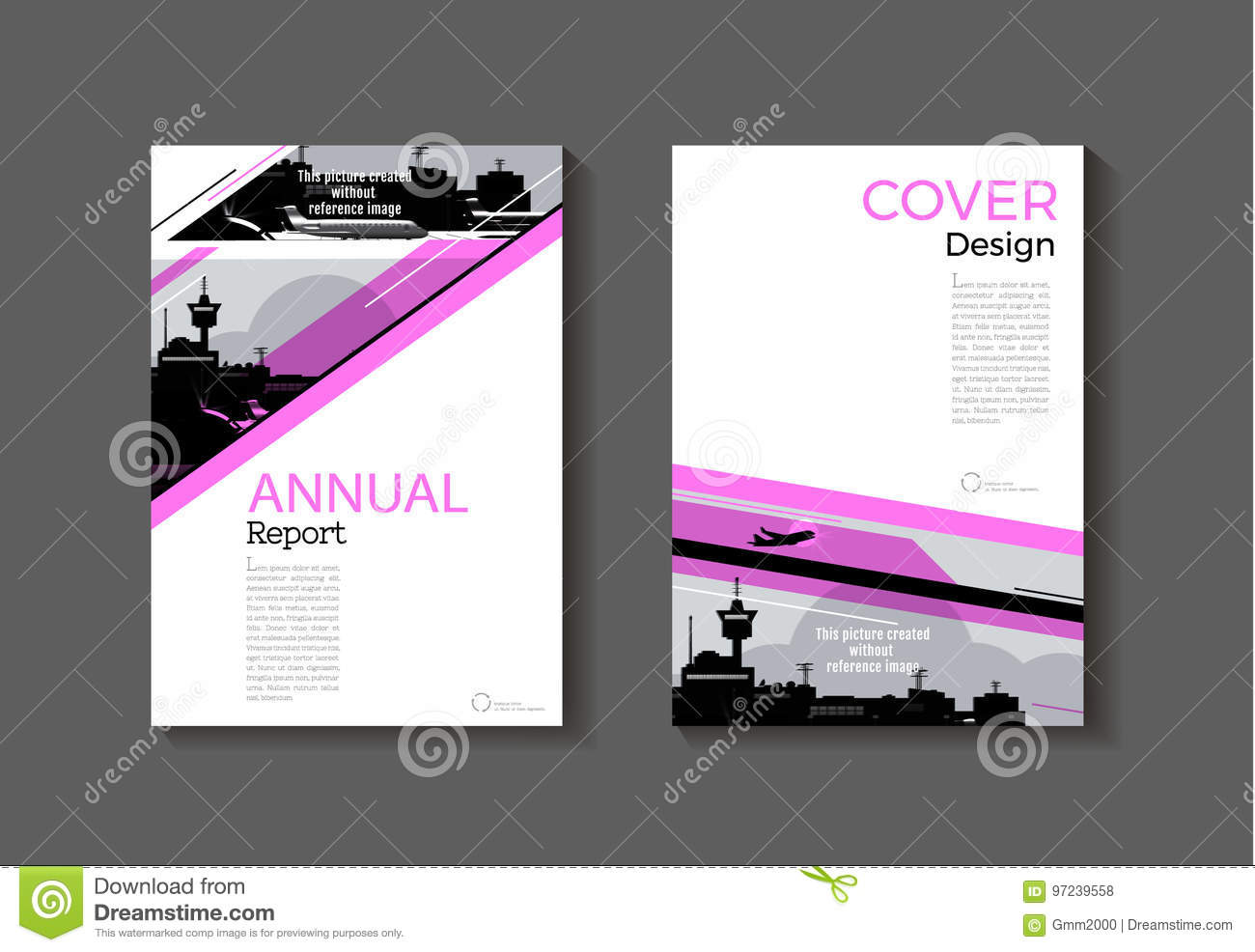 pink cover abstract modern cover book brochure template design