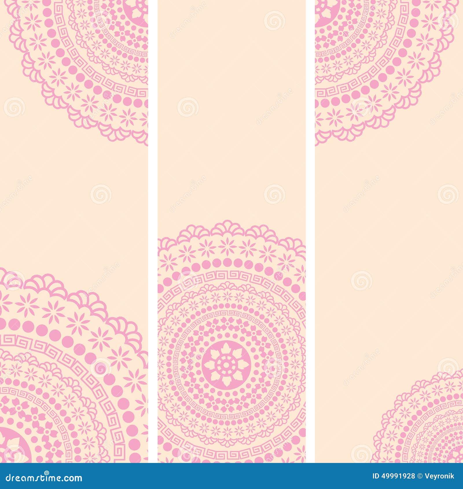 Free ornamental mandala vector download free vector art stock - Pink And Cream Oriental Mandala Vertical Banners Stock