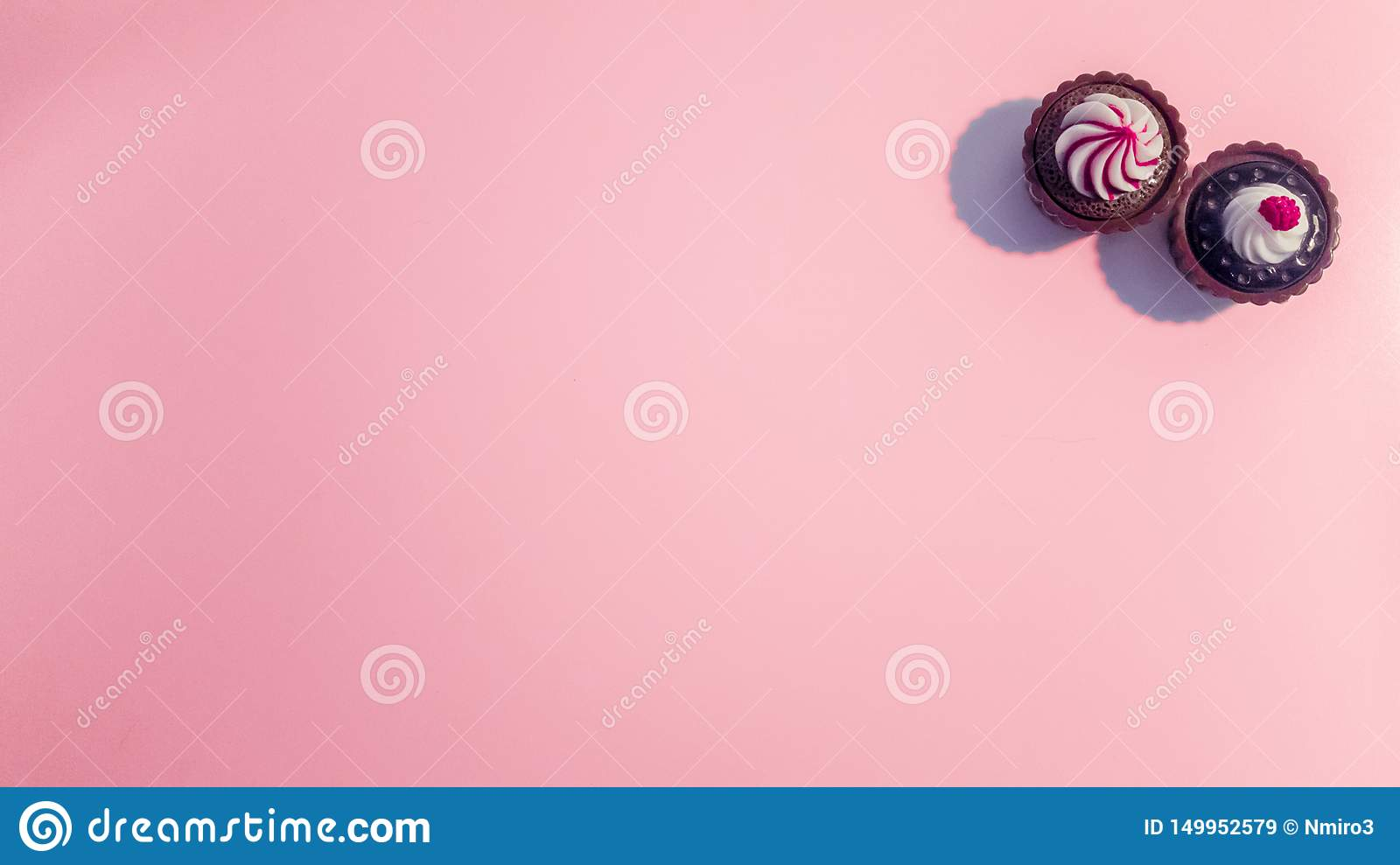 Sweety pink cupcakes background