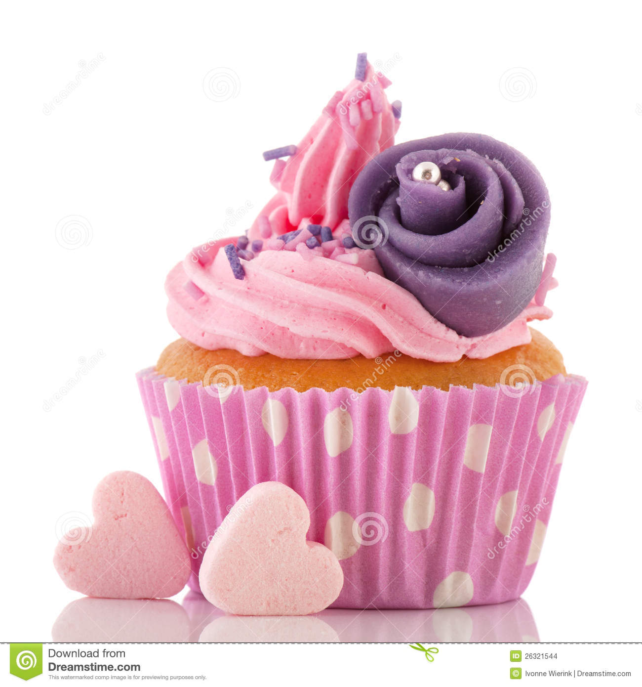 Vector christmas candy pictures - Pink Buttercream On Cupcake With Candy Hearts And Purple Flower