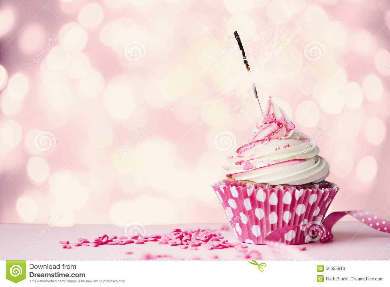 Pink Cupcake With Sparkler Stock Photo Image 50555916