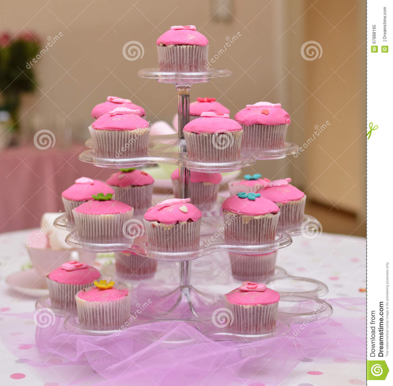 Pink Cupcakes On A Stand Stock Image Image Of Girl Young 67888195
