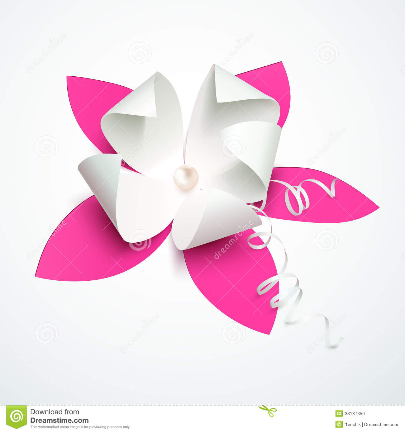 Pink Cutout Paper Flower With Pearl Stock Photo - Image: 33187350