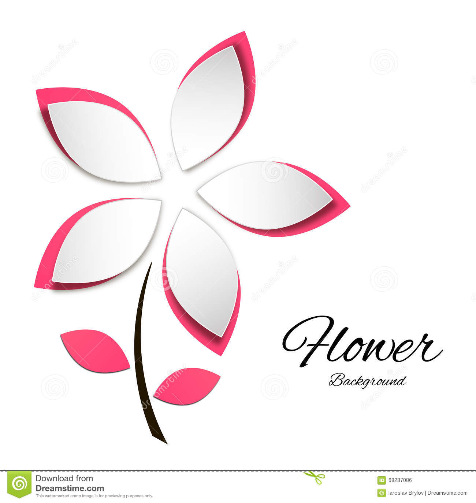 Pink Cutout Paper Flower Stock Vector Illustration Of Illustration