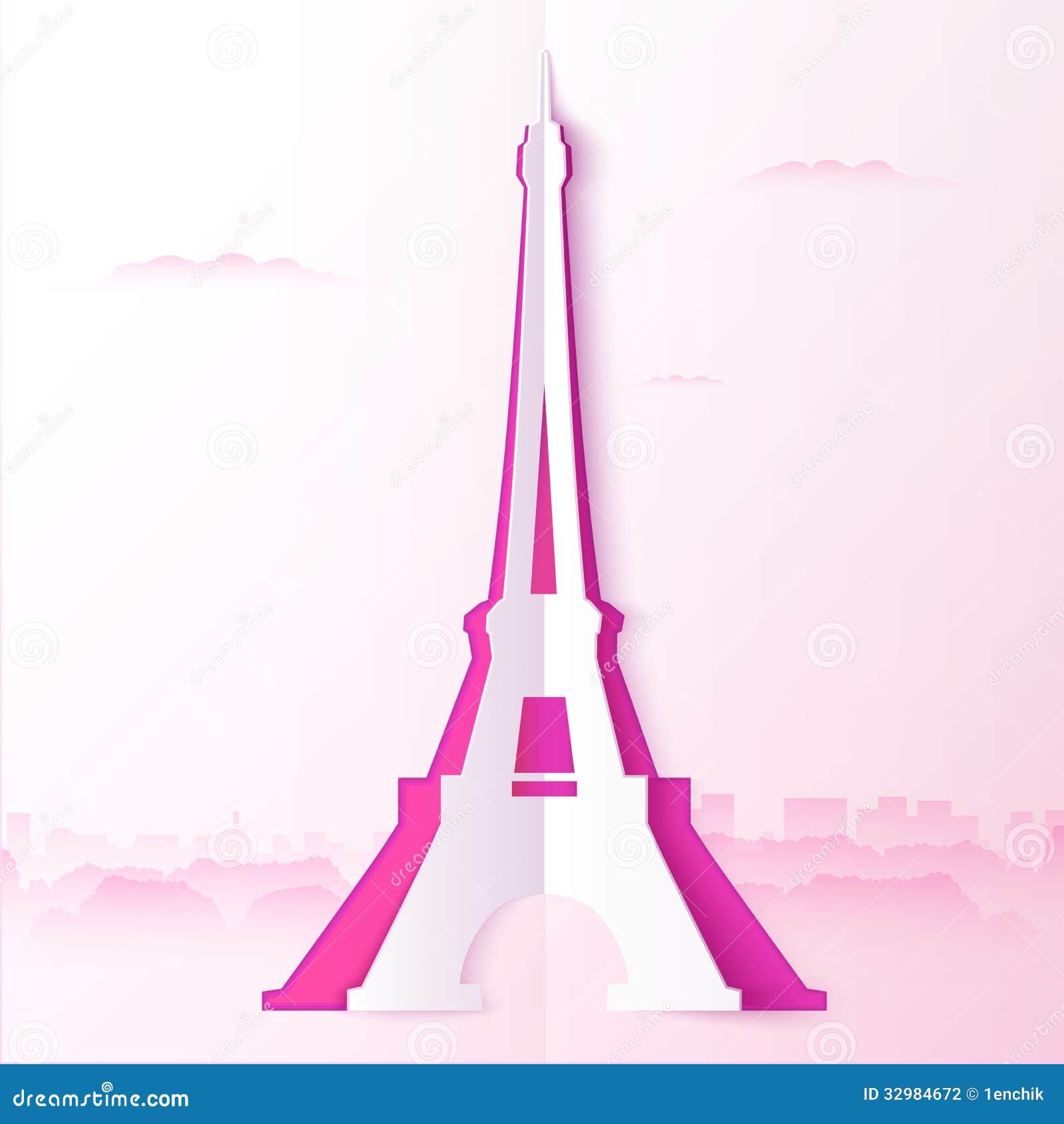 Pink Cutout Paper Vector Tour Eiffel