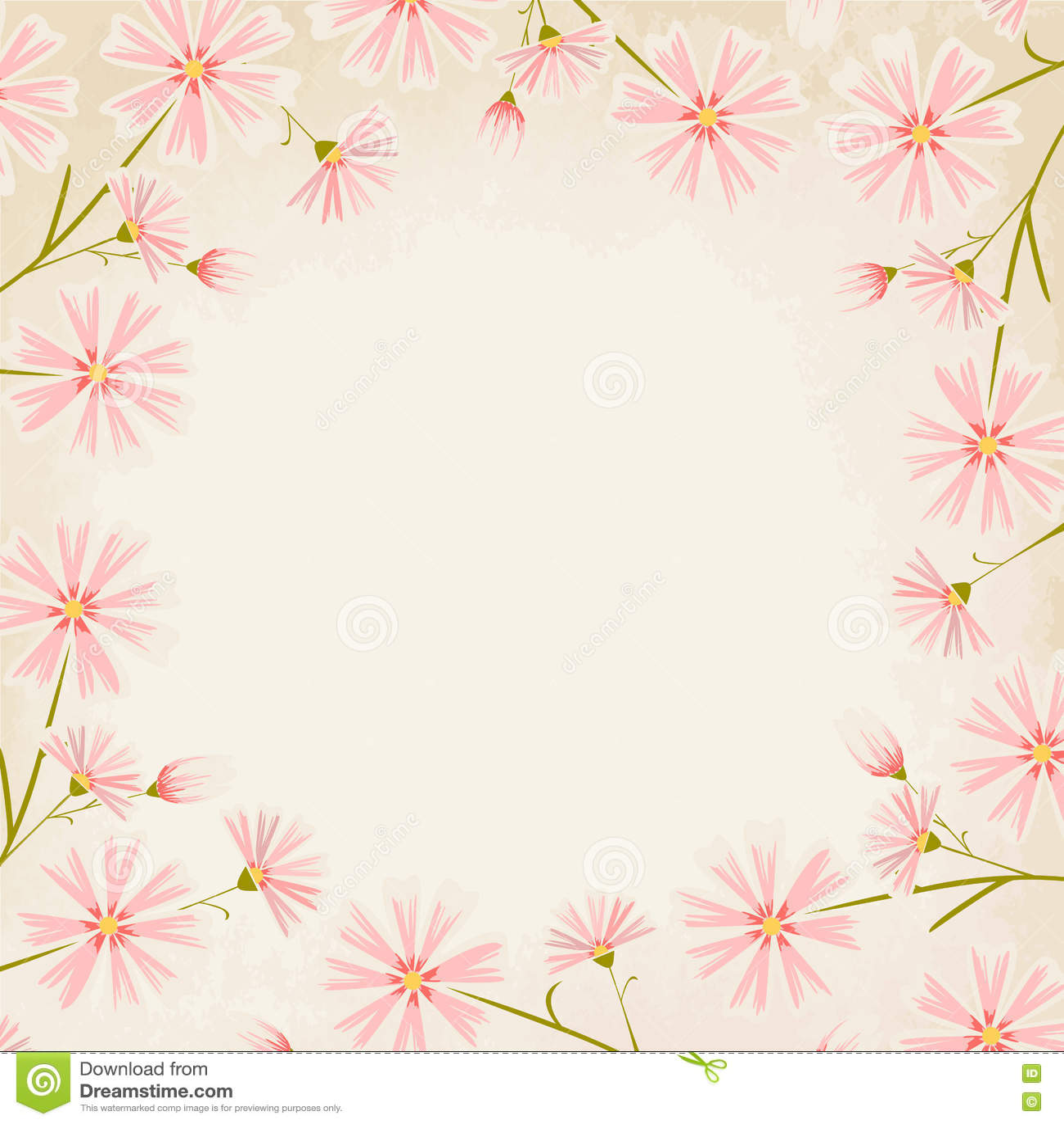Pink Daisy Flowers Border Design Element Stock Vector Illustration