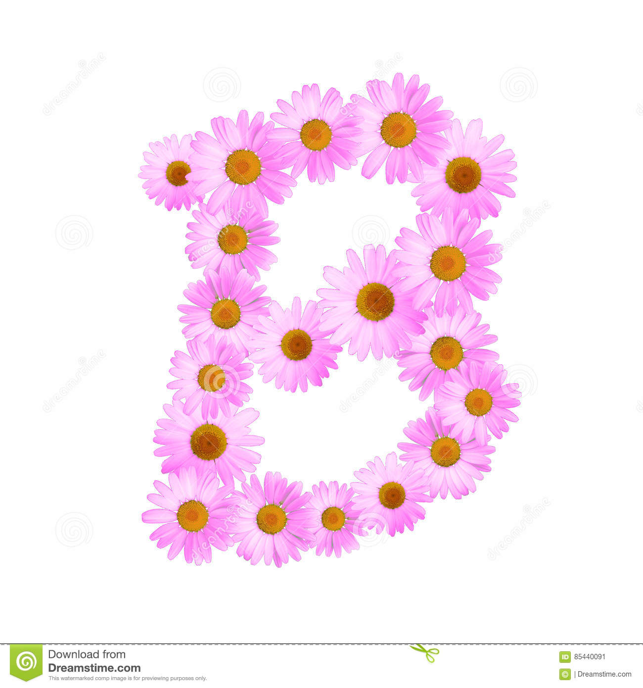 Pink Daisy Letter B stock illustration. Illustration of flora - 85440091