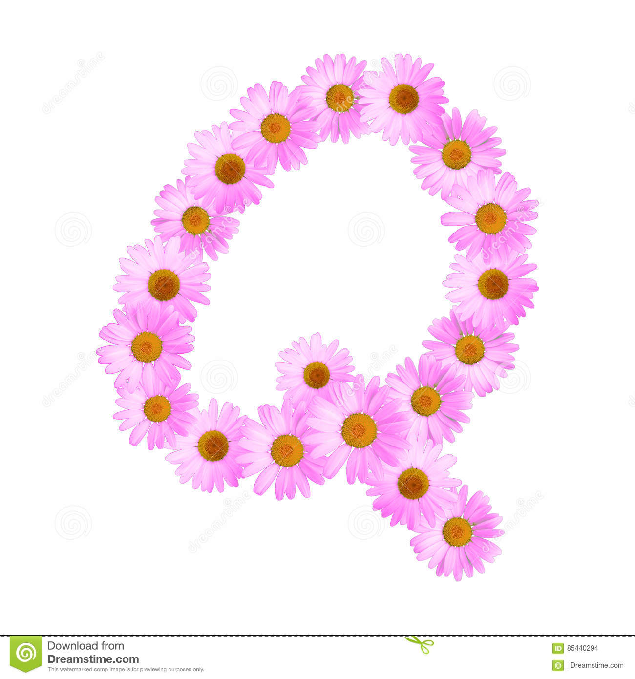 Pink Daisy Letter Q stock illustration. Illustration of letter ...
