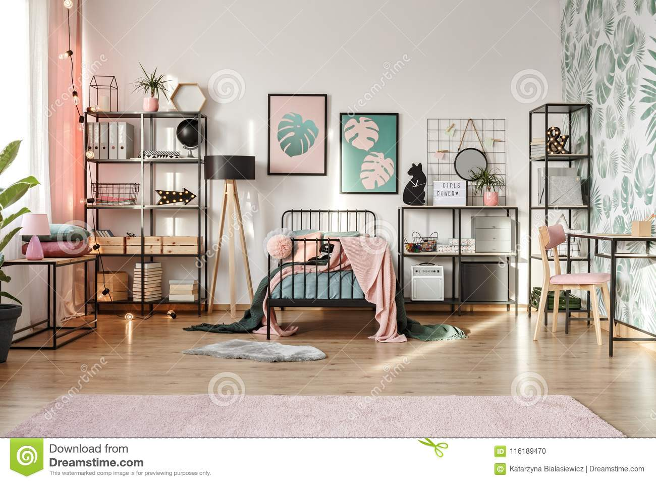 Pink Decorations In Botanical Bedroom Stock Photo - Image of ...