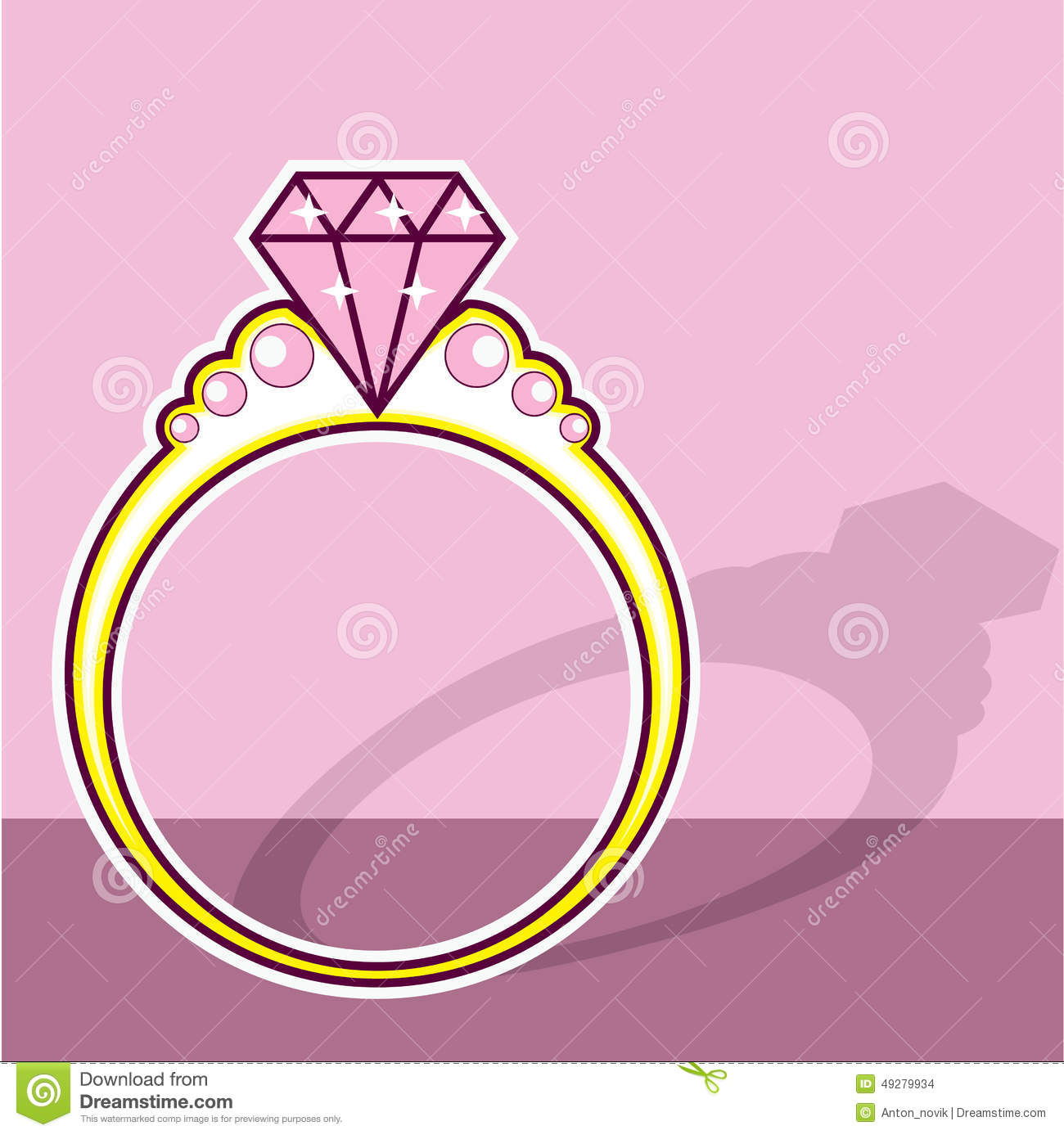 Pink Diamond Ring stock vector. Illustration of engagement - 49279934