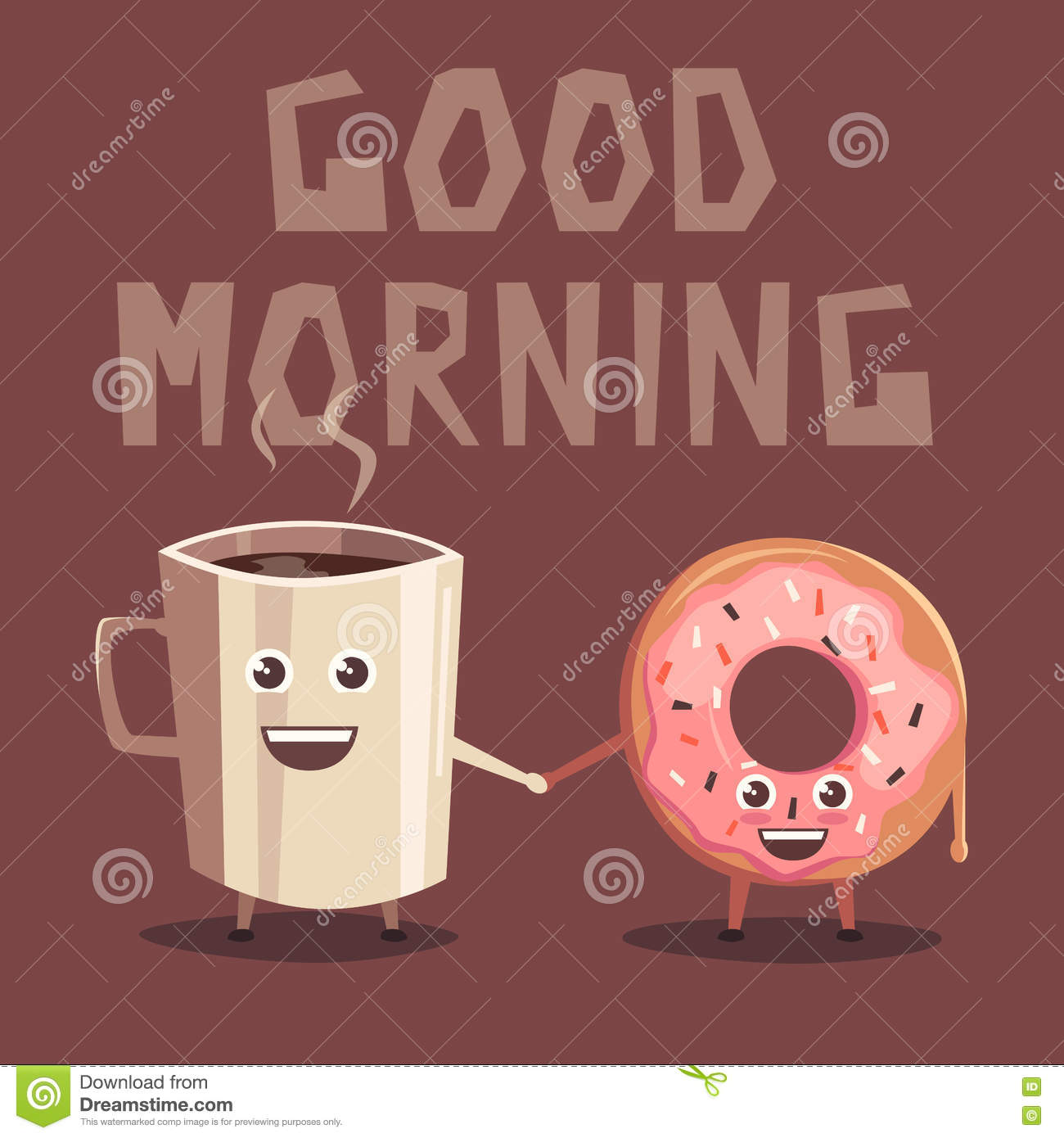 Pink Donut And Coffee Character Cartoon Vector Illustration Stock