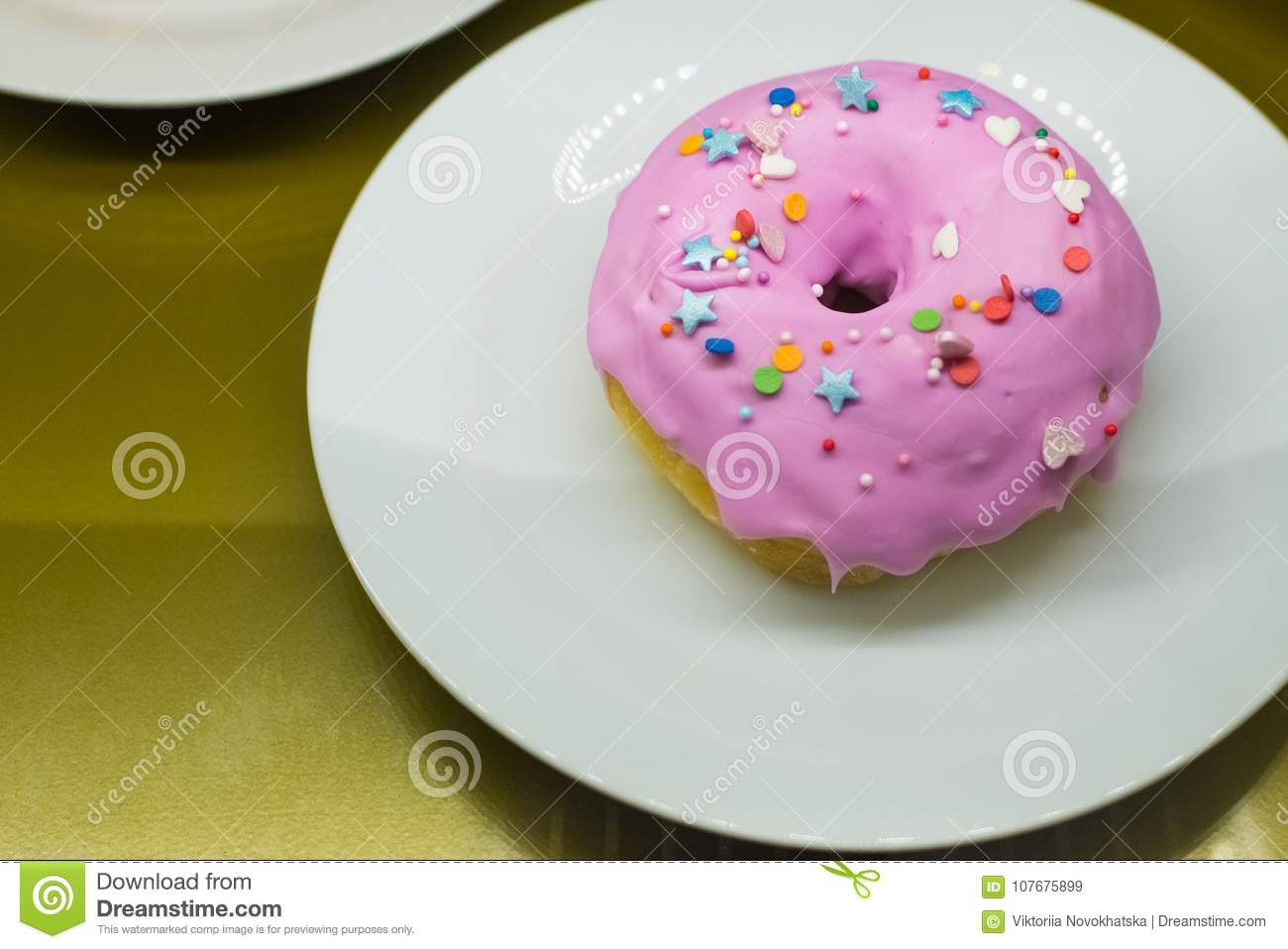 Pink donut with decoration