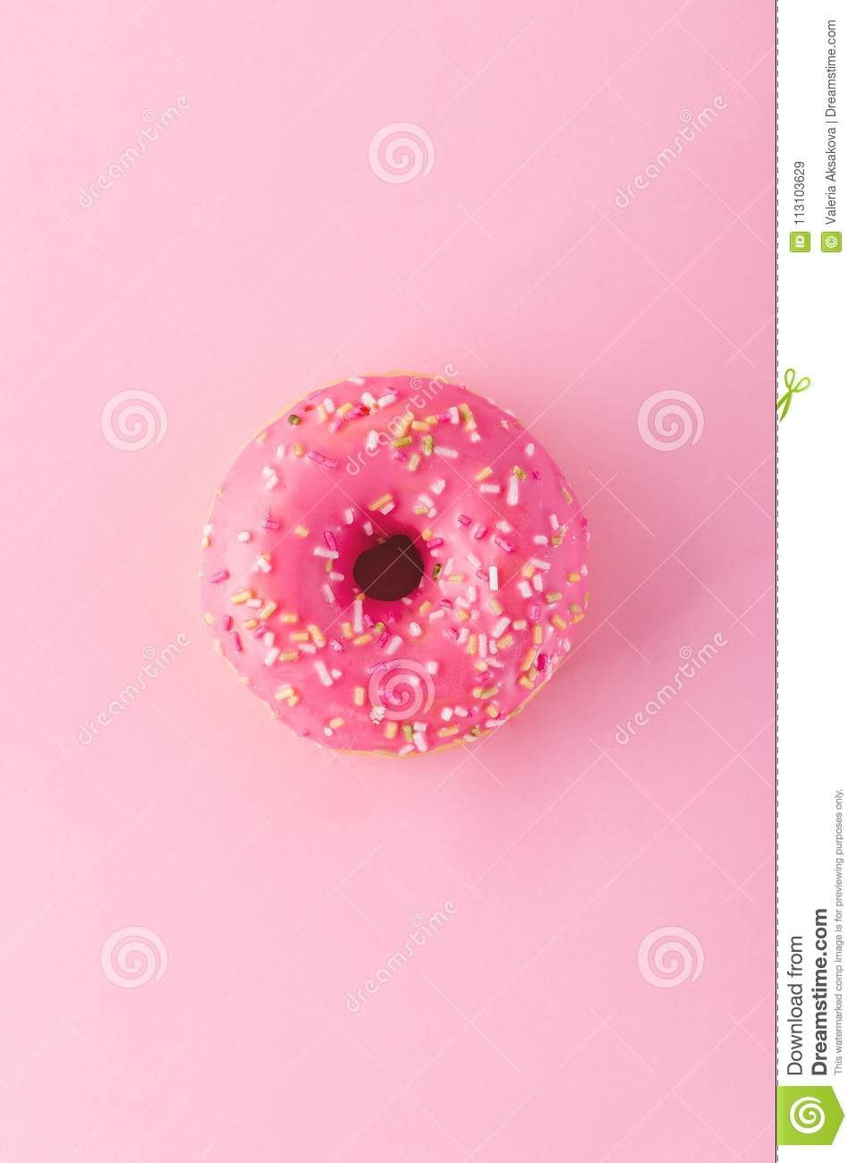 Pink donut with sprinkles stock image  Image of gourmet