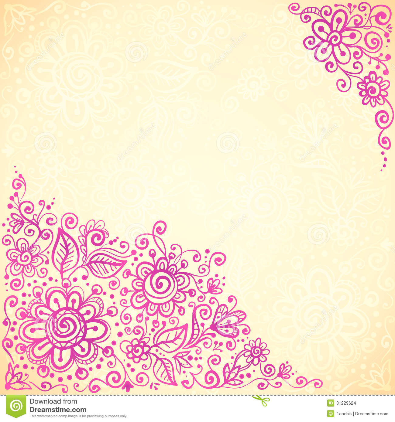 Pink Doodle Flowers Vector Greeting Card Stock Vector Illustration