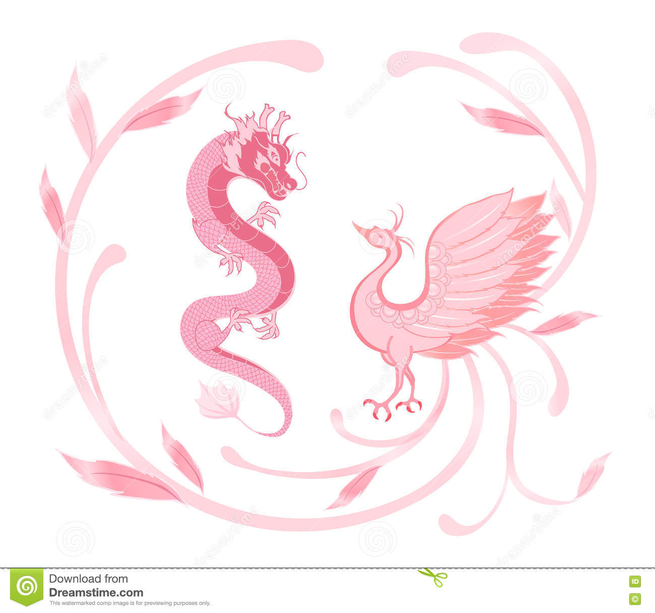 Pink Dragon And Phoenix For Symbolism In Traditional Chinese Wed