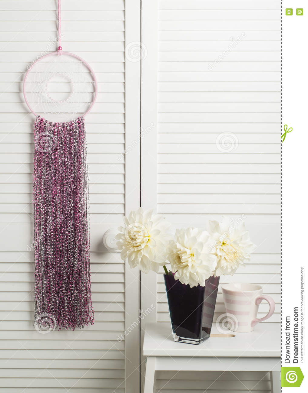 Pink Dream Catcher With Flowers Stock Photo Image Of Accessory