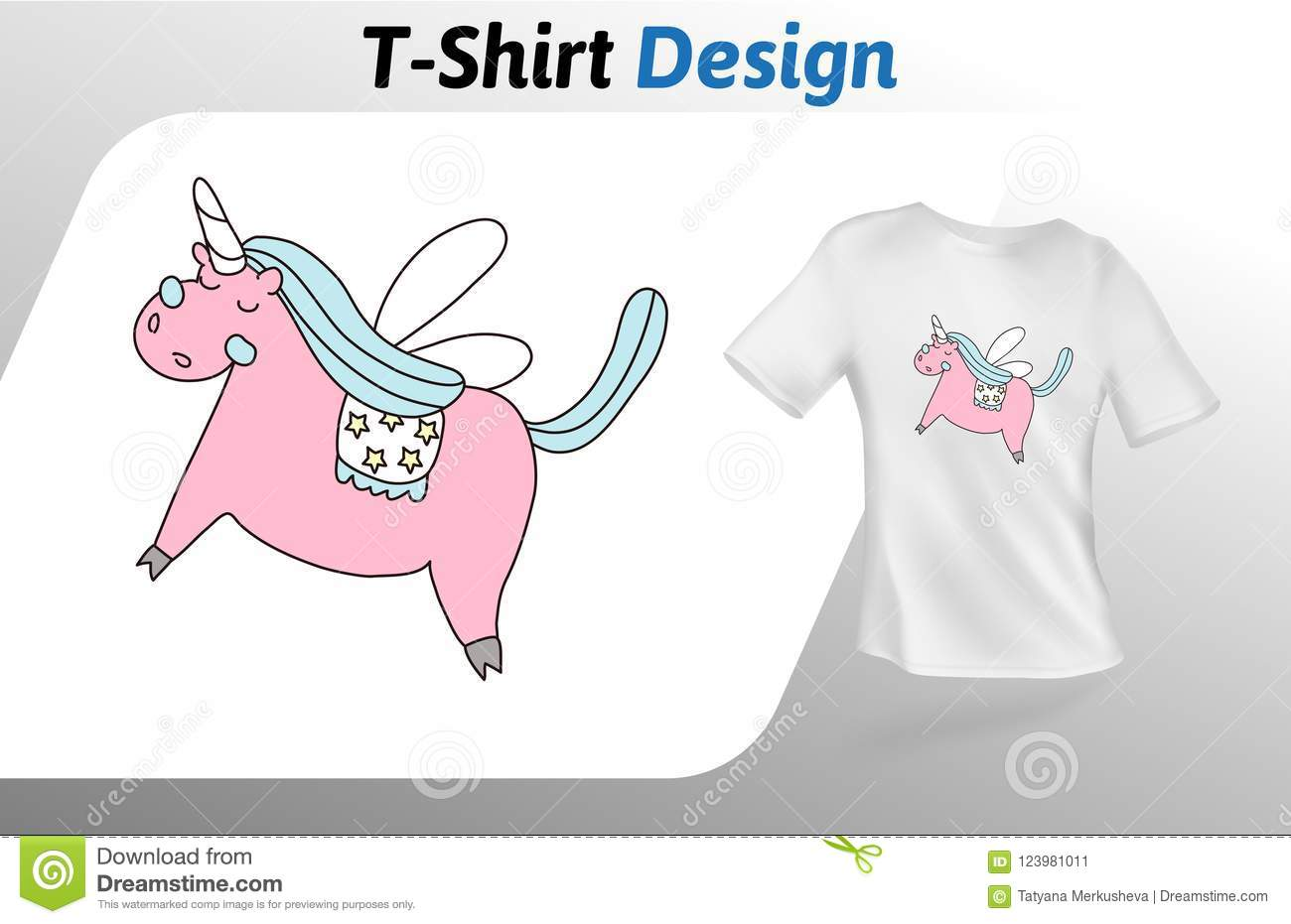 7b0c7614 Royalty-Free Vector. Pink dreamy unicorn t-shirt print. Mock up t-shirt  design template.