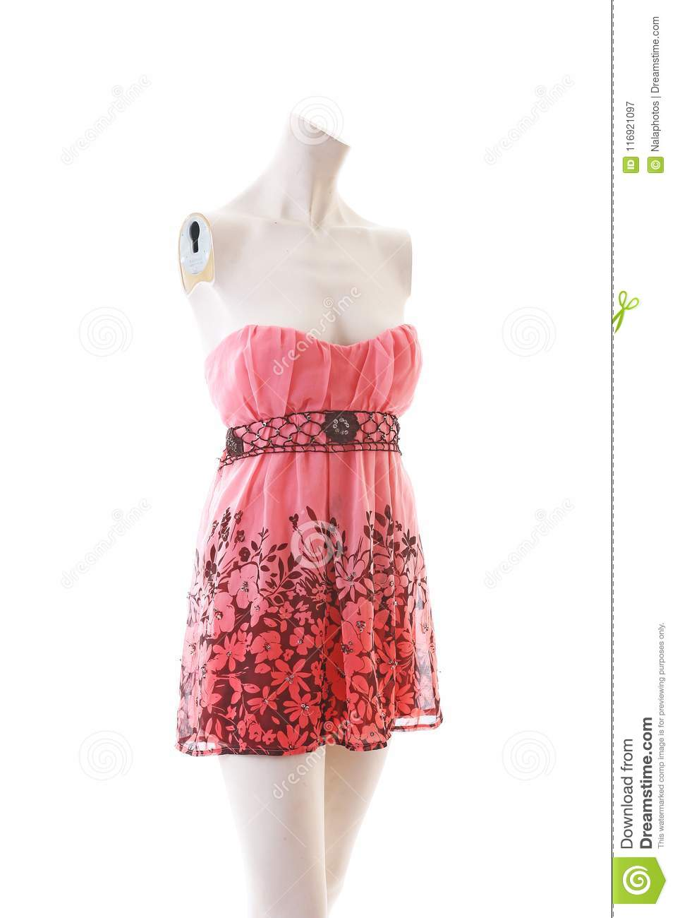0b0ad9c7ce Pink dress long top mini dress on mannequin full body shop display. Woman  fashion styles, clothes on white studio background.