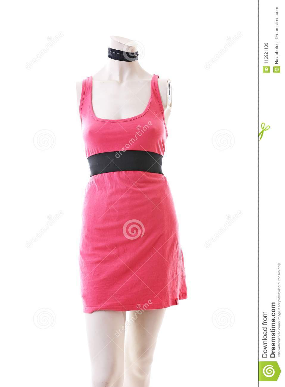 Pink dress long top mini dress on mannequin full body shop display. Woman fashion styles, clothes on white studio background.