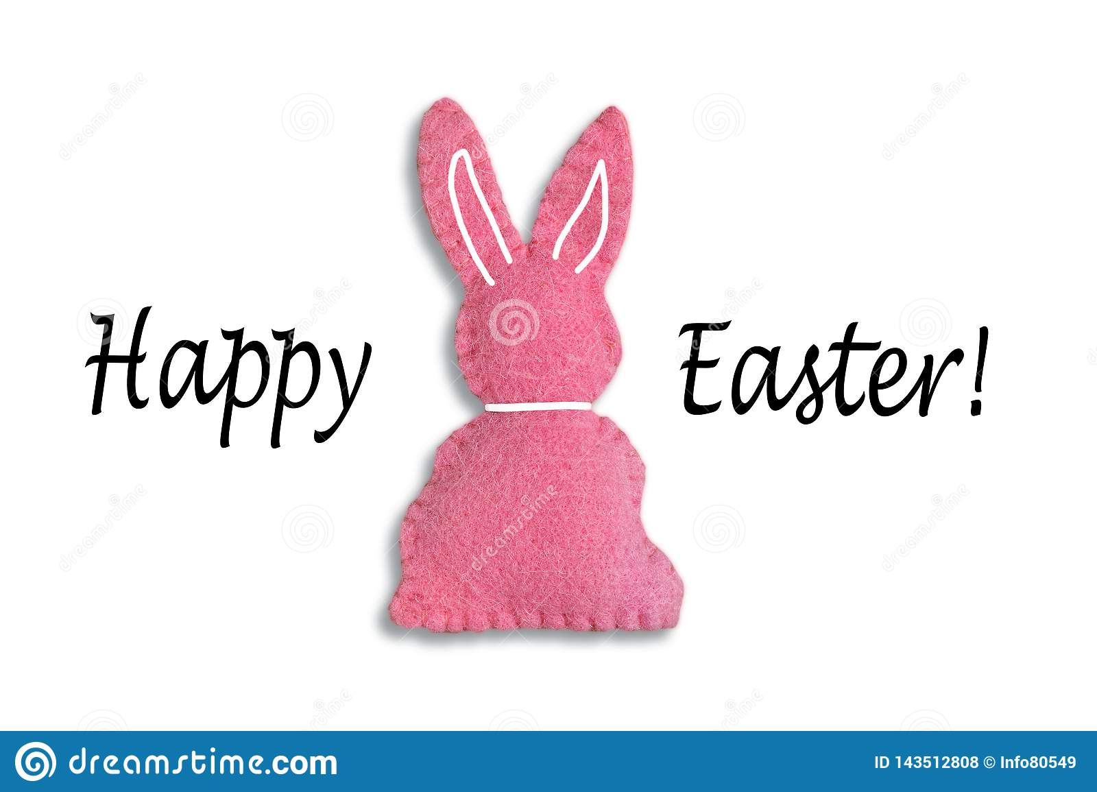 Pink Easter bunny with text `Happy Easter` and a white background.