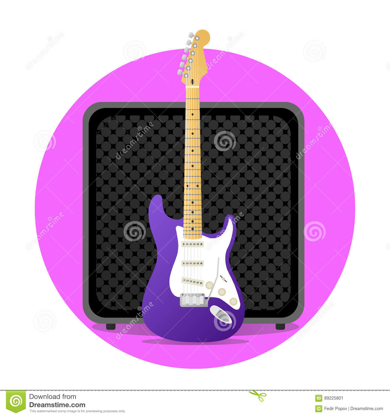 pink electric guitar with amp stock vector image 89225801. Black Bedroom Furniture Sets. Home Design Ideas