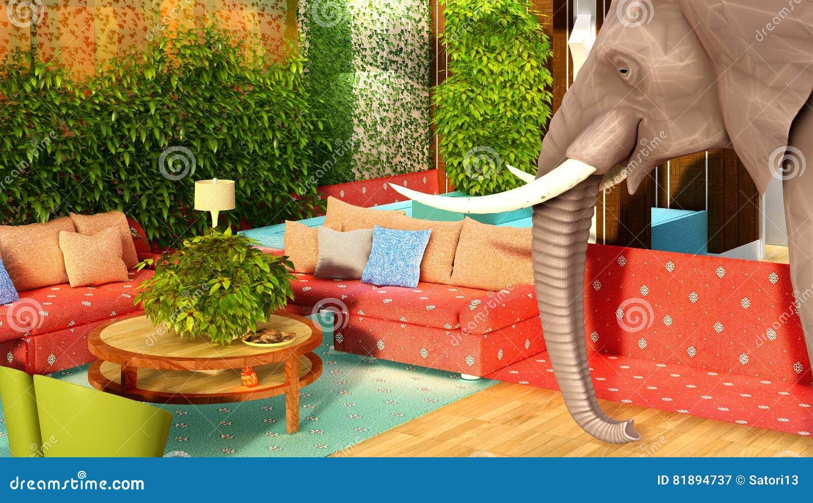 Illustration: Pink Elephant In The Living Room 3D Rendering