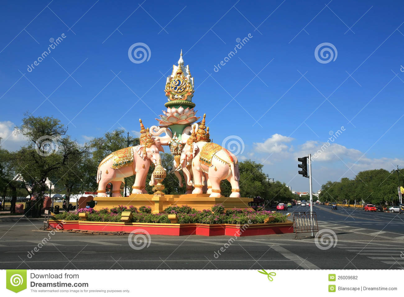 Pink Elephant Statue Decorated On Sanam Luang Editorial Photography - Image: ...