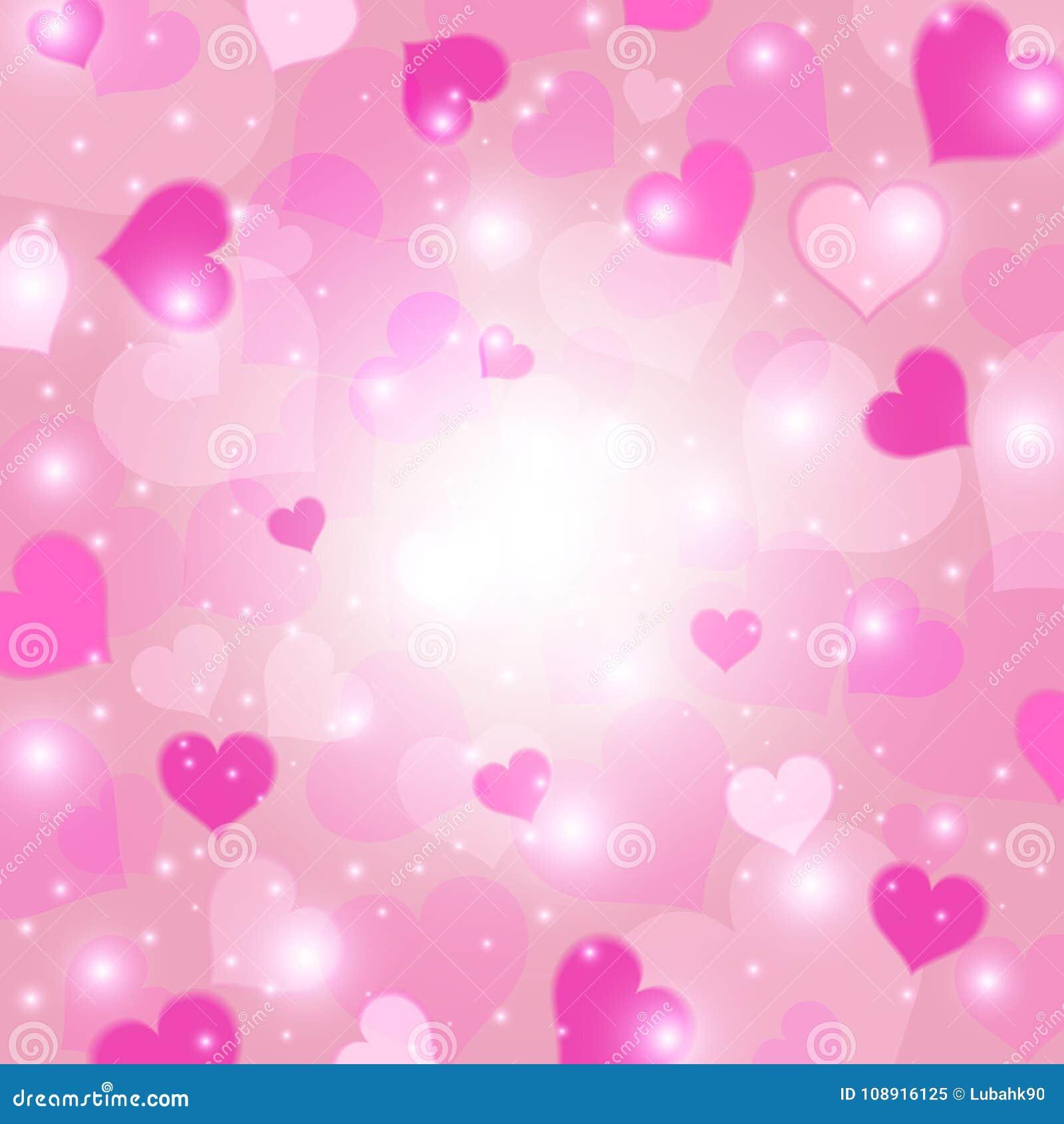 Pink för hjärta för bakgrundskortkrona blom- Förälskelsetextur Begrepp för dag för valentin` s också vektor för coreldrawillustra