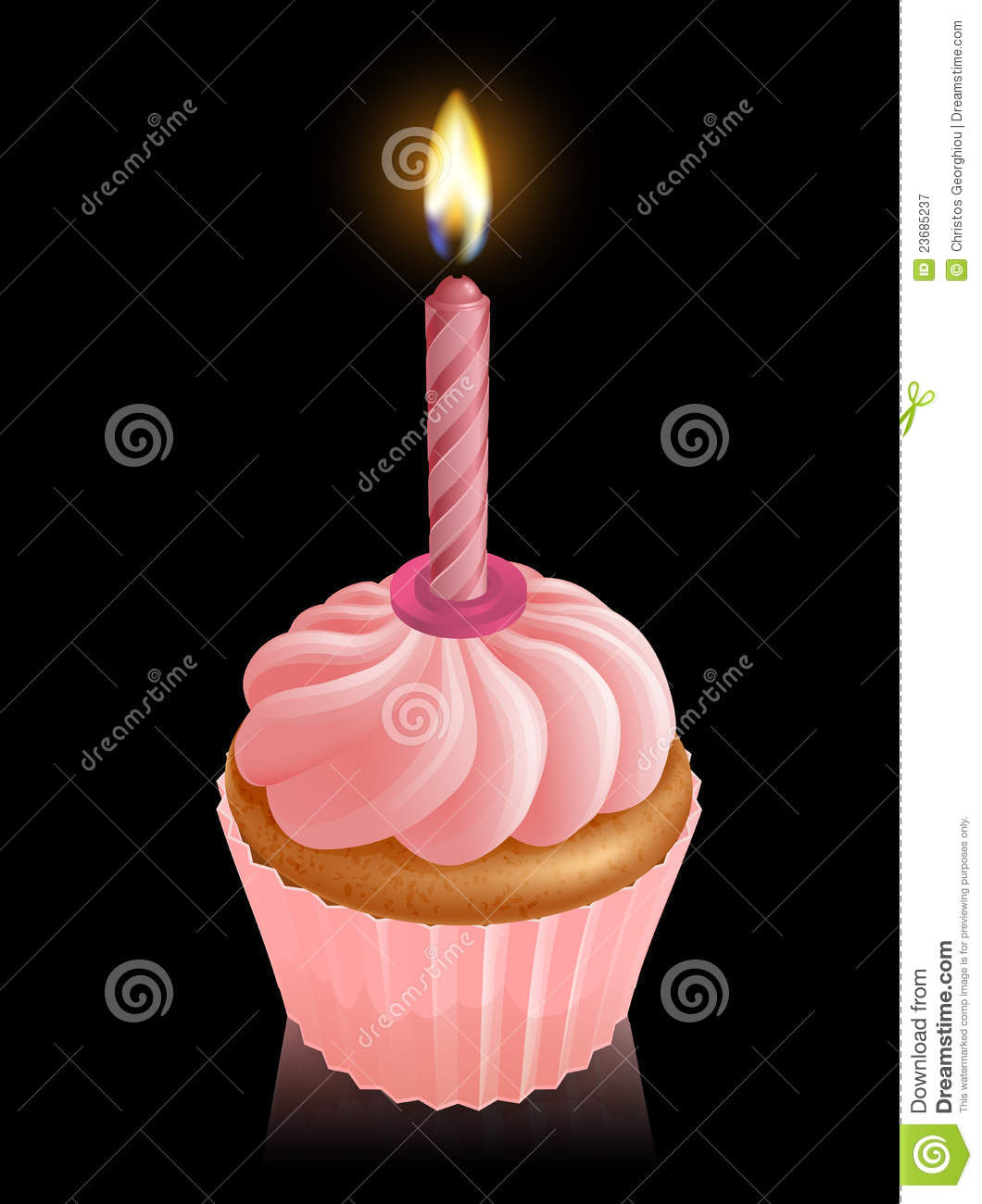 Pink Fairy Cake Cupcake With Birthday Candle Royalty Free