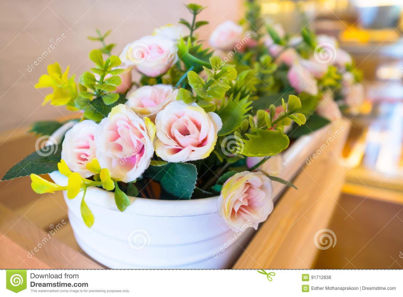 Pink Fake Flowers In Basket Stock Photo Image Of Closeup Concept