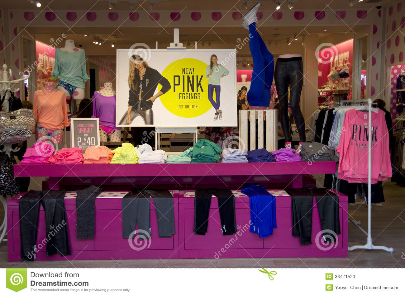 Pink fashion store by Victoria's Secret has bold designs. It is at
