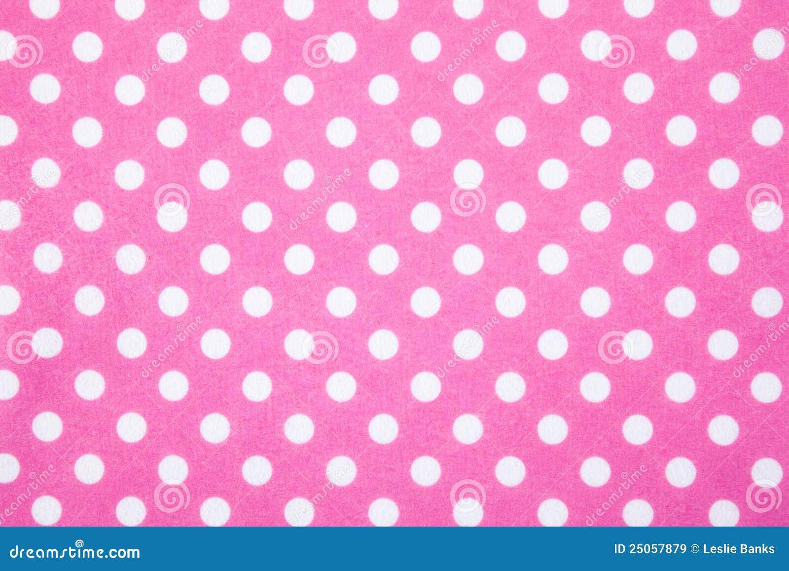 Pink Felt Polka Dot Background Stock Image