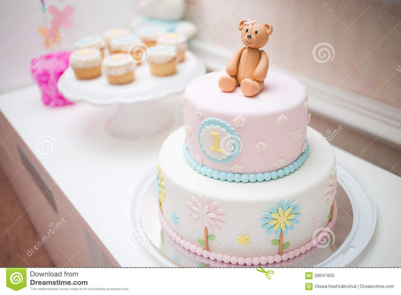 Pink First Year Birthday Cake Stock Image Image Of Cute Fancy