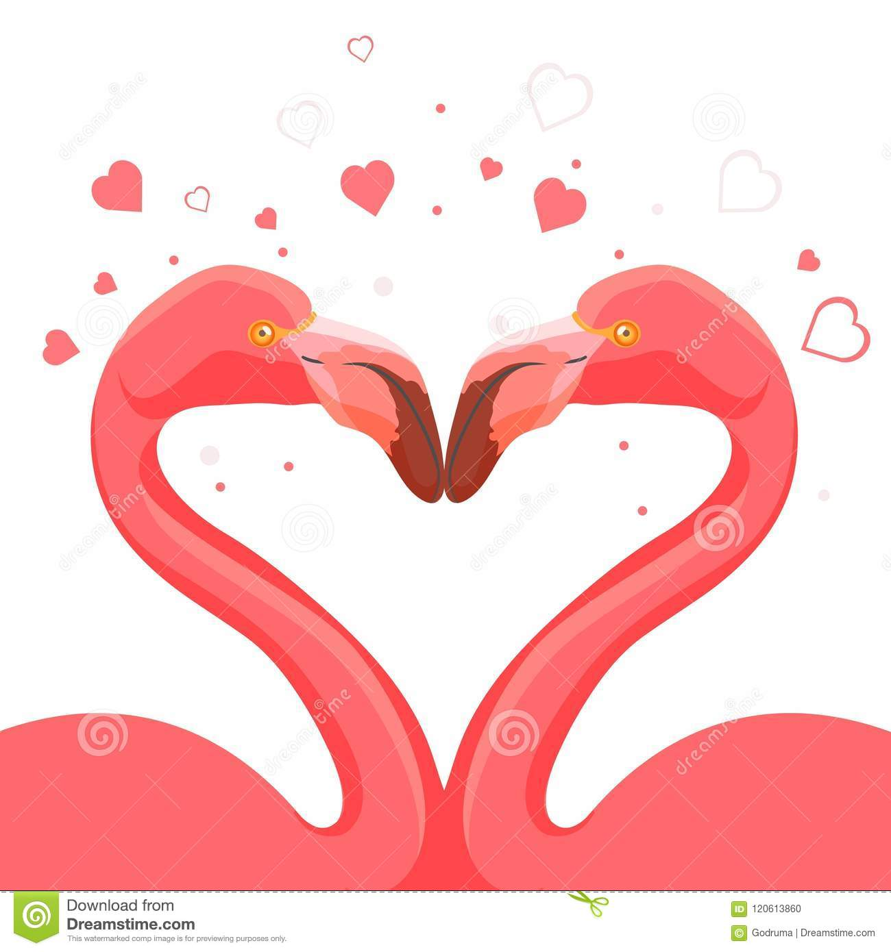 Pink Flamingo Kissing Love Of Birds Vector Illustration Stock Vector