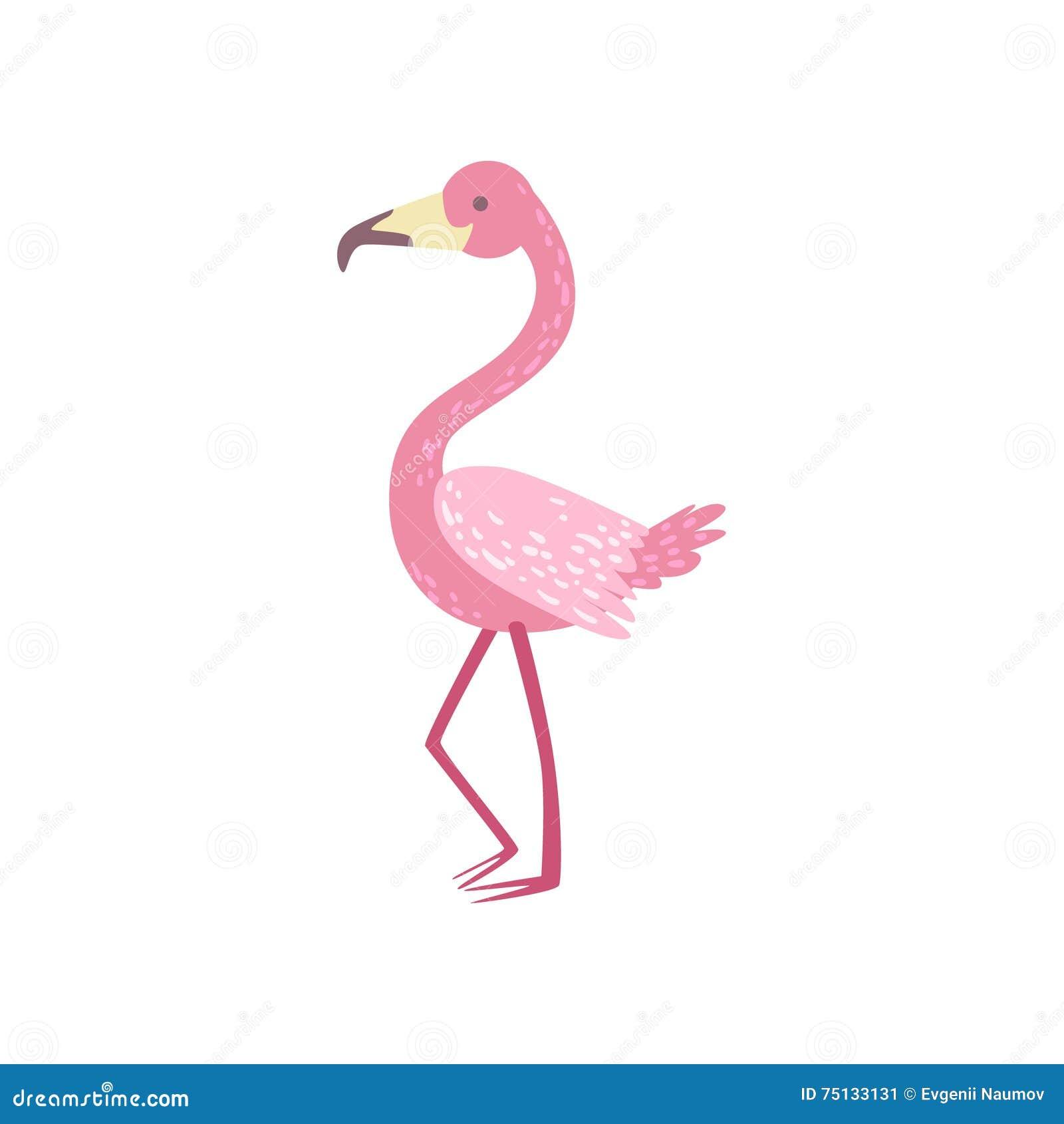 Pink Flamingo Stylized Childish Drawing Stock Vector
