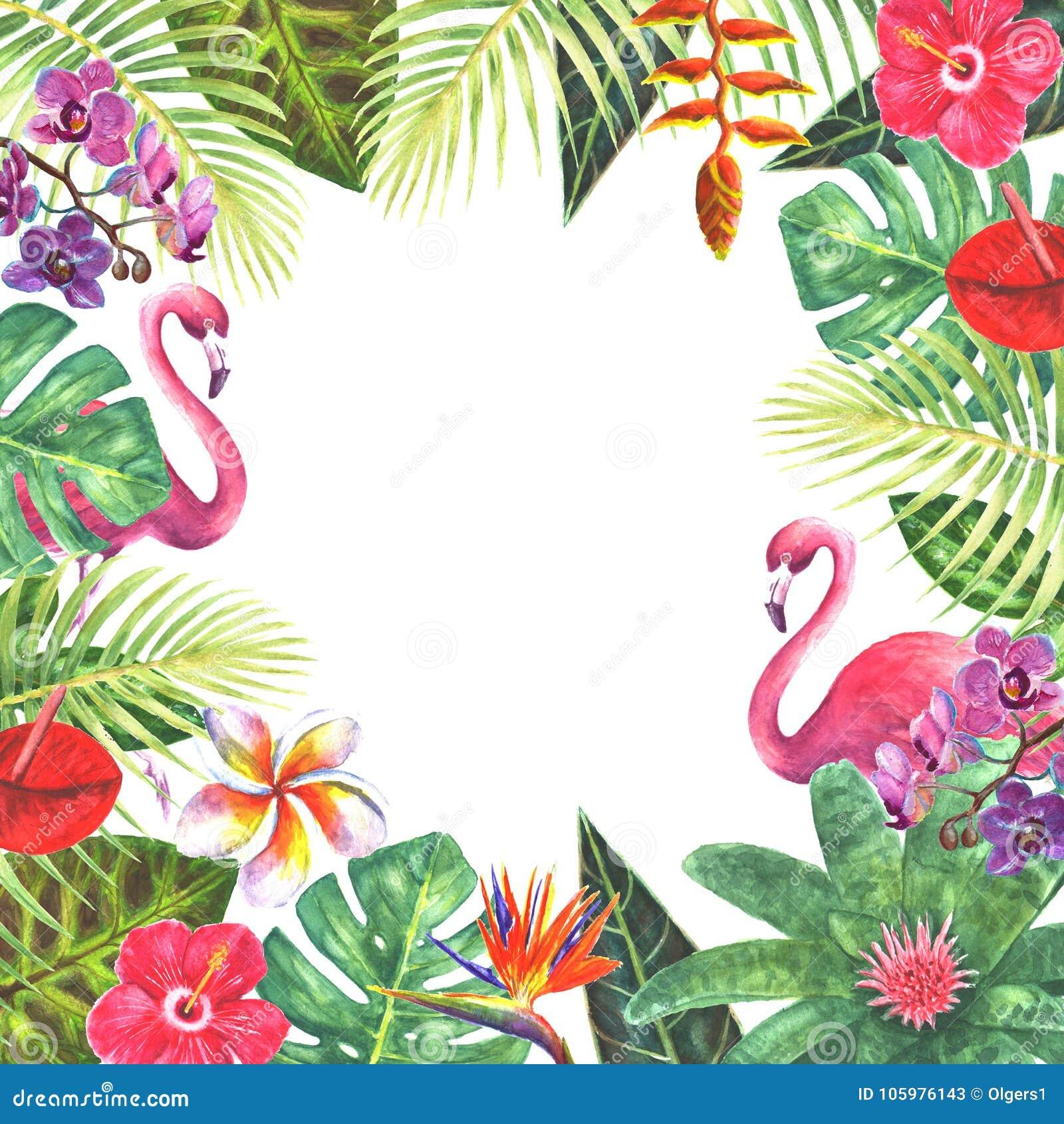 """Wedding invitation card design template. Exotic tropical ..."