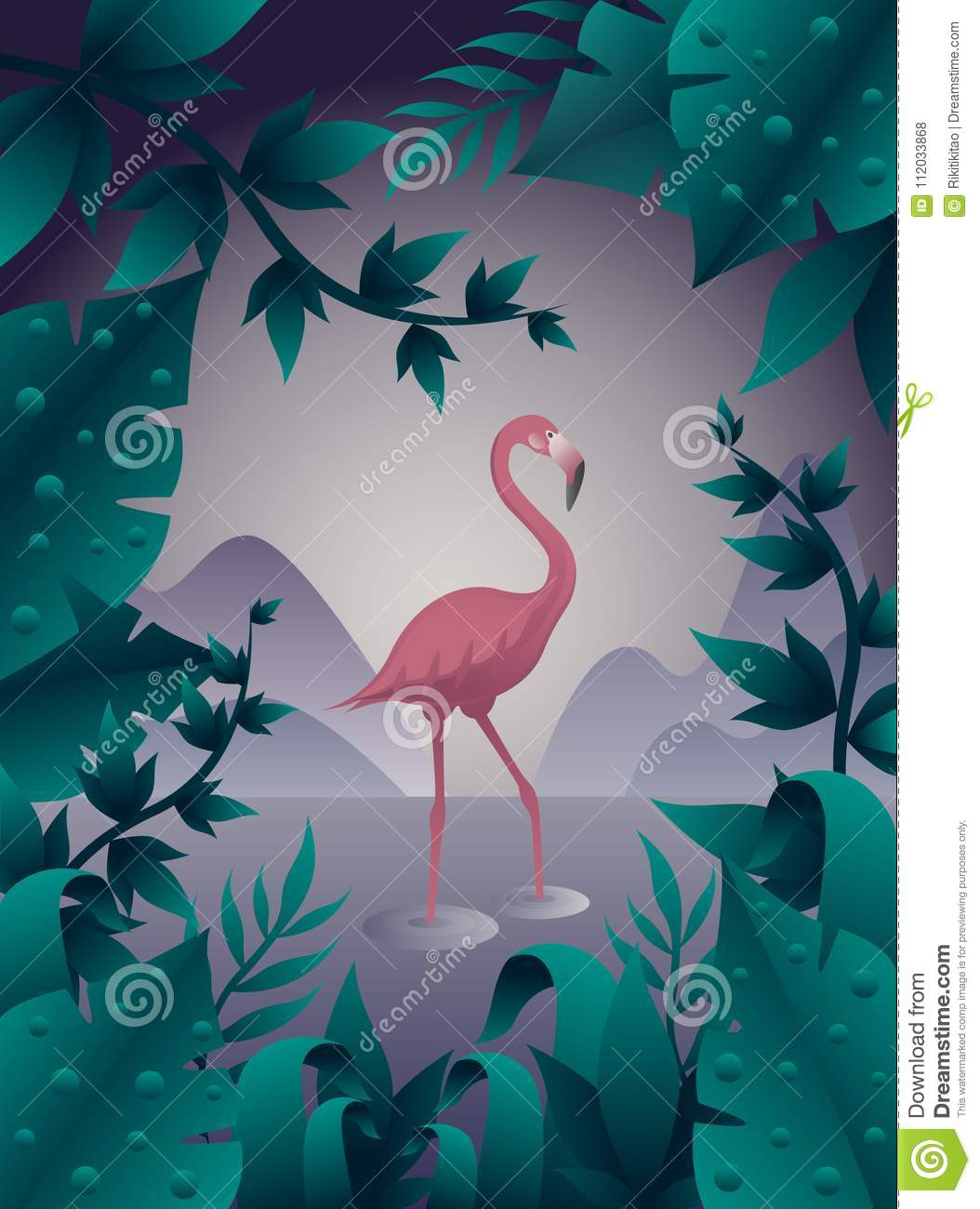 Pink flamingo on the water