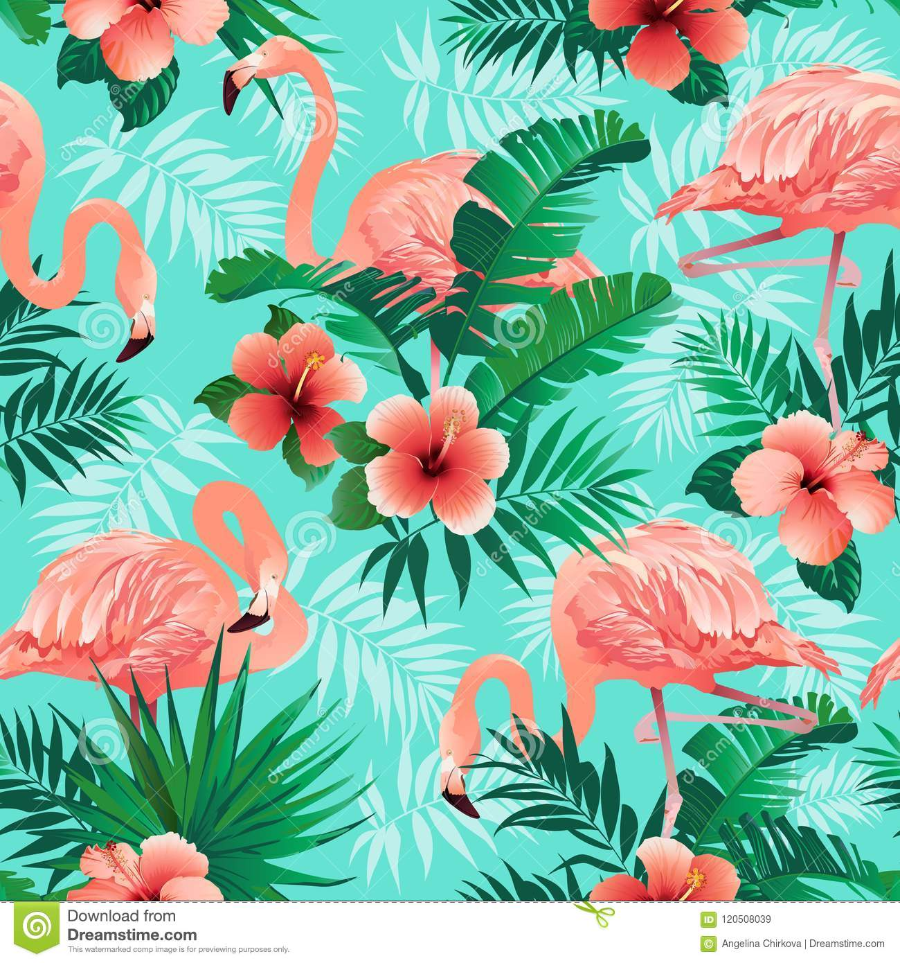 Pink flamingos, exotic birds, tropical palm leaves, trees, jungle leaves seamless vector floral pattern background.
