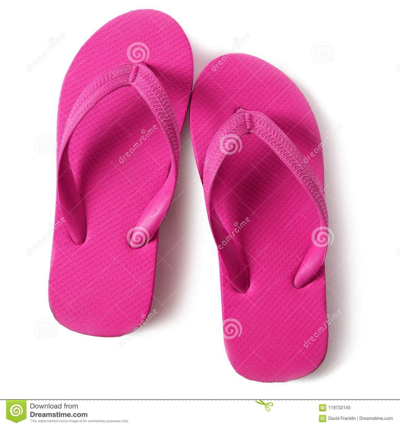 c0140a7d0e47 Pink Flip Flop Sandals Isolated On White Background Closeup Top View ...