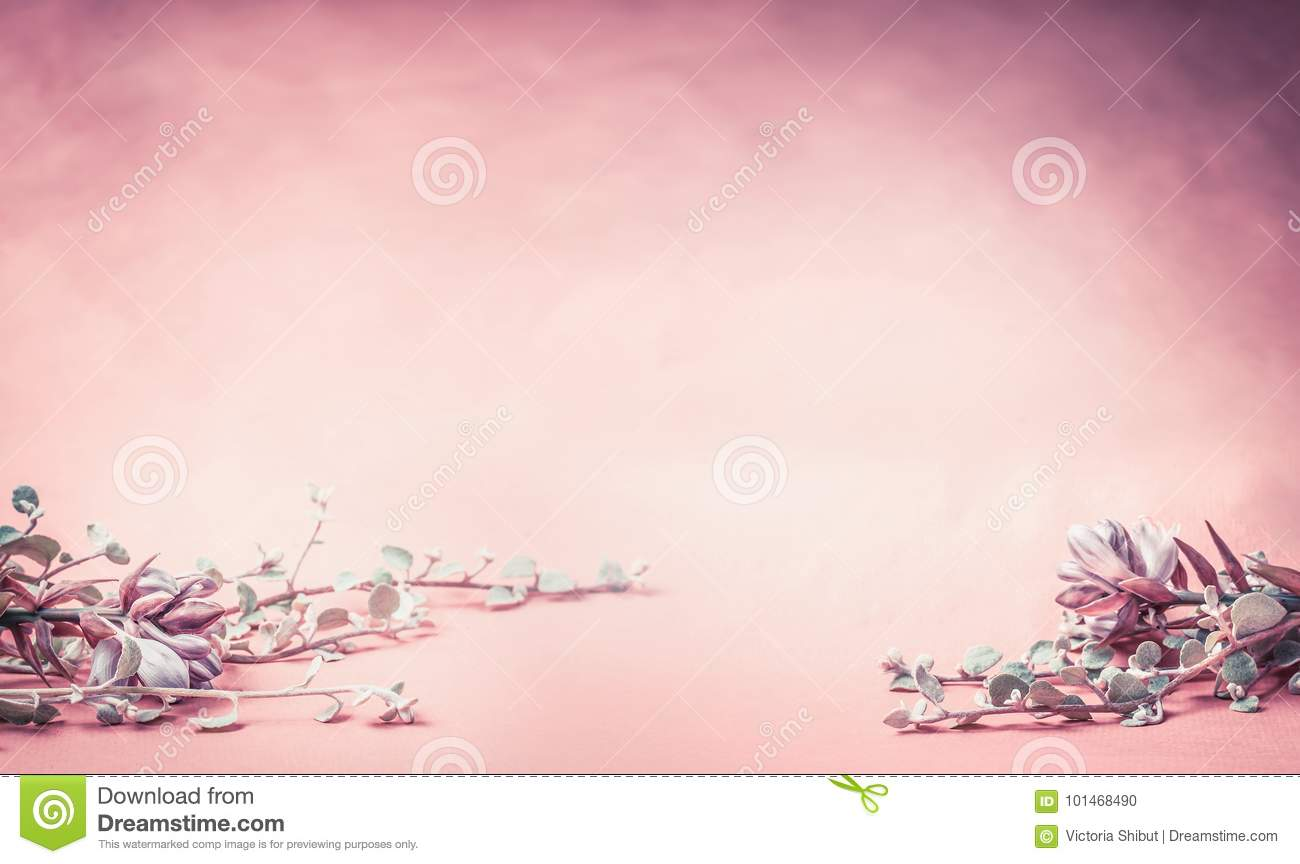 Pink floral background with flowers and leaves, banner or border for wedding,spa or beauty concept