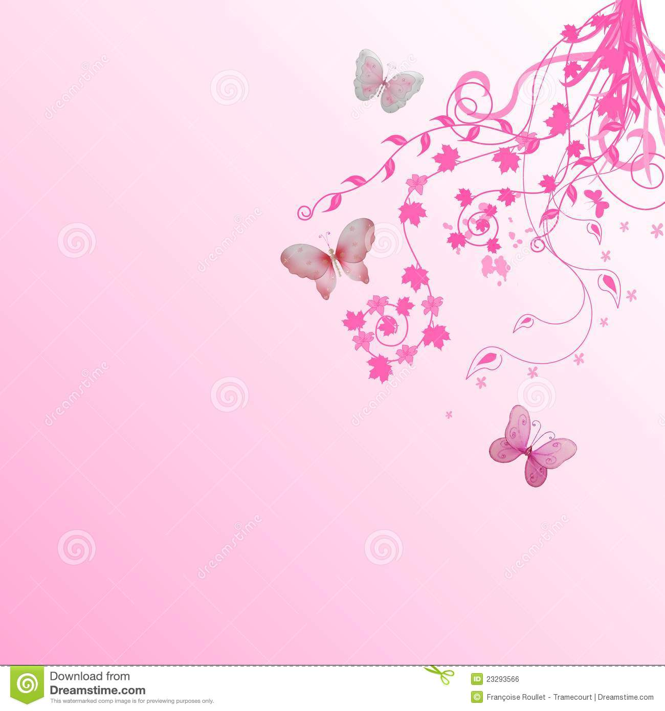 Garden Wall Murals Ideas Pink Floral Butterflies Background Royalty Free Stock