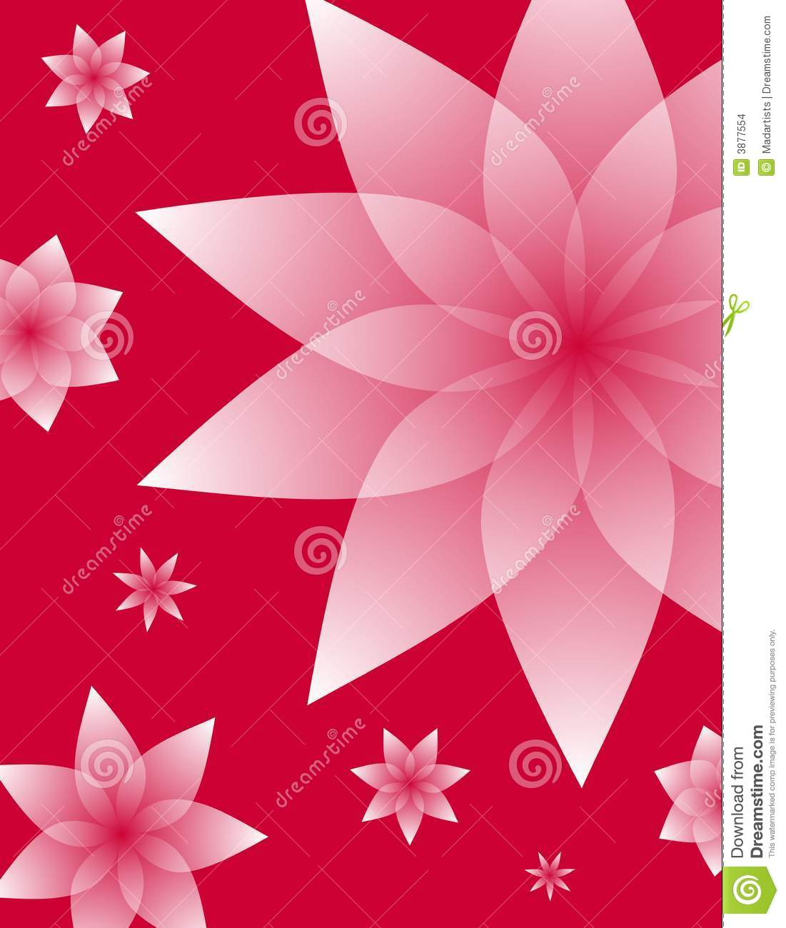 Pink Floral Designs On Red Background Stock Images Image
